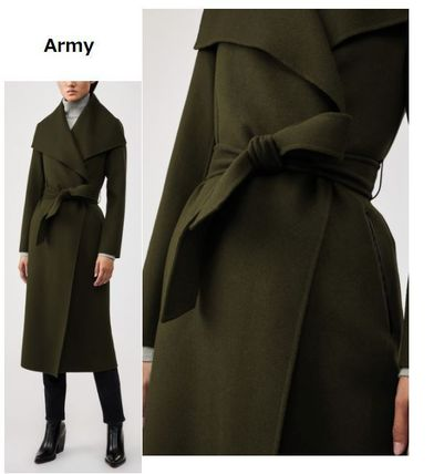 Stand Collar Coats Wool Plain Leather Long Party Style