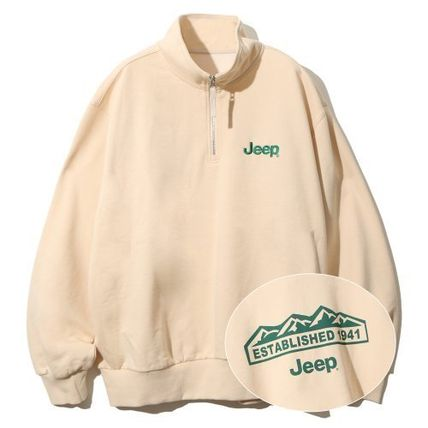 JEEP Crew Neck Unisex Street Style Long Sleeves Plain Cotton Logo