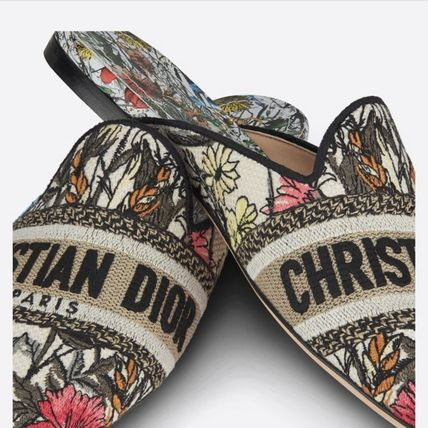 Christian Dior Mules Formal Style  Logo Loungewear Flower Patterns