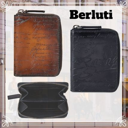 Berluti Long Wallet  Logo Unisex Leather Coin Cases