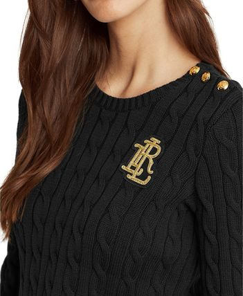 Ralph Lauren Logo Crew Neck Cable Knit Casual Style Long Sleeves Plain