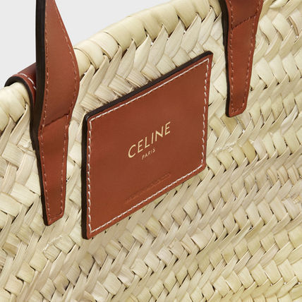 CELINE Triomphe Calfskin Street Style 2WAY Leather Logo Straw Bags