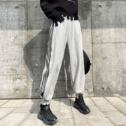 Stripes Casual Style Street Style Plain Cotton Long