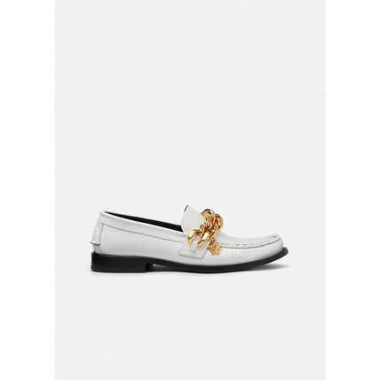 VERSACE Driving Shoes Loafers Plain Leather U Tips Logo