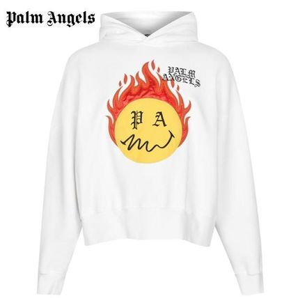 Palm Angels Hoodies Pullovers Unisex Street Style Long Sleeves Plain Cotton
