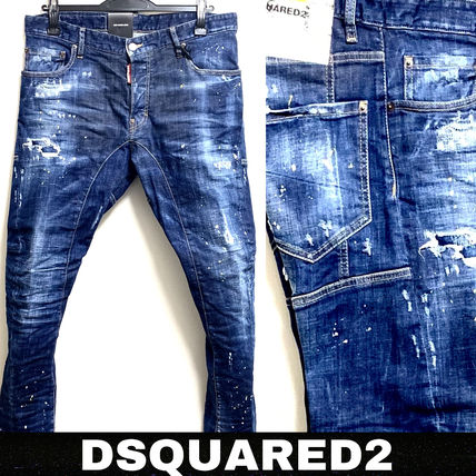 D SQUARED2 Skinny Tapered Pants Denim Street Style Cotton Handmade