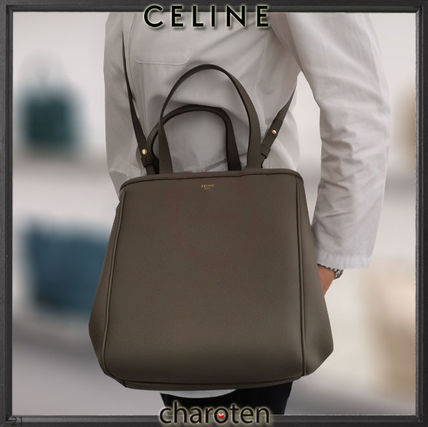 CELINE Cabas Casual Style Unisex Calfskin A4 3WAY Plain Leather