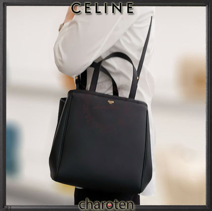 CELINE Cabas Unisex Calfskin A4 3WAY Plain Leather Logo Totes
