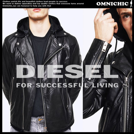 DIESEL Leather Military Biker Jackets