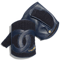 CHANEL Unisex Tweed Leather Logo Leather & Faux Leather Gloves