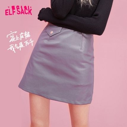 ELF SACK Short Faux Fur Plain Street Style Mini Skirts