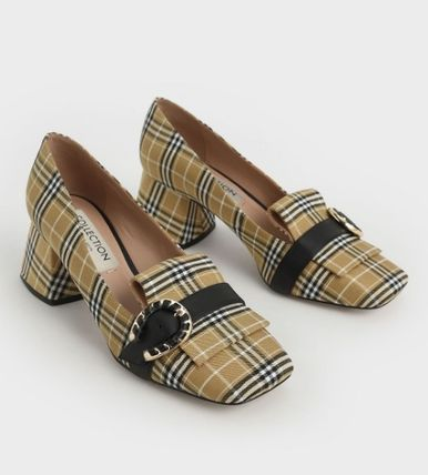 Charles&Keith Gingham Square Toe Casual Style Leather Party Style