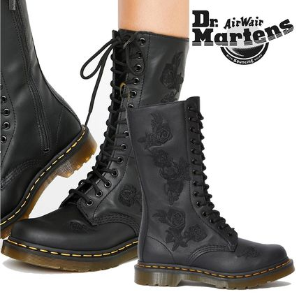 Dr Martens Flower Patterns Plain Toe Leather Flat Boots