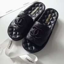 CHANEL Open Toe Casual Style Leather Mules Logo Sandals