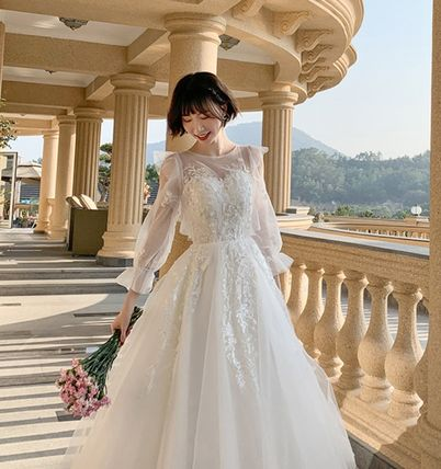 Bridal Crew Neck Long Sleeves Plain Long Wedding Dresses