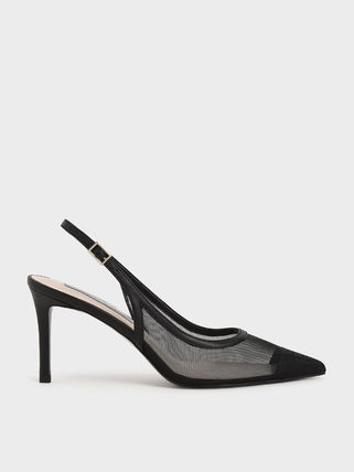 Charles&Keith Formal Style  Bridal Casual Style Faux Fur Pin Heels