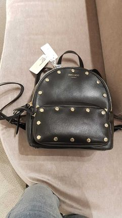 Jimmy Choo Casual Style Studded 2WAY Plain Leather Office Style Logo