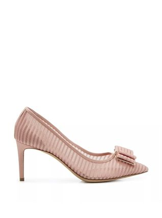 Salvatore Ferragamo Stripes Casual Style Suede Pin Heels Elegant Style
