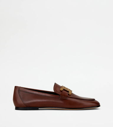 TOD'S Plain Toe Casual Style Plain Leather Loafer & Moccasin Shoes