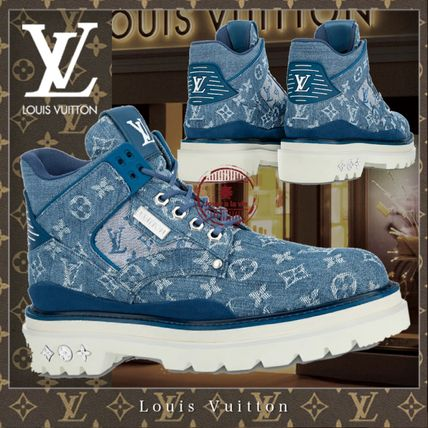 Louis Vuitton MONOGRAM Monogram Street Style Bi-color Logo Engineer Boots