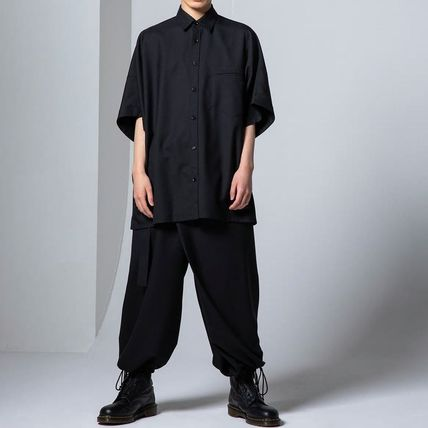 Yohji Yamamoto Button-down Unisex Wool Plain Short Sleeves Designers Shirts