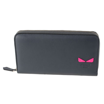 Plain Leather Long Wallet  Logo Neon Color Long Wallets