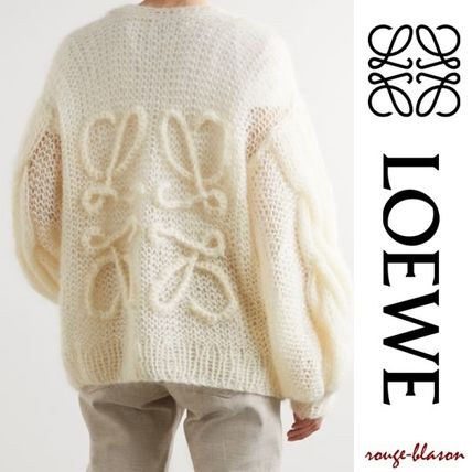 LOEWE Cable Knit Casual Style Wool Long Sleeves Plain Medium