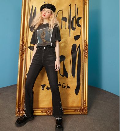 ELF SACK Street Style Plain Cotton Long Wide & Flared Jeans
