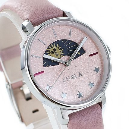FURLA Round Formal Style  Casual Style Leather Street Style