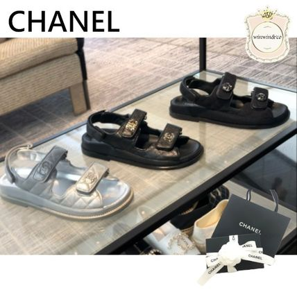 CHANEL Casual Style Leather Logo Sandals