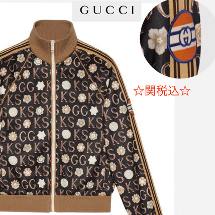 GUCCI Sweatshirts Pullovers Long Sleeves Cotton Logos on the Sleeves Logo