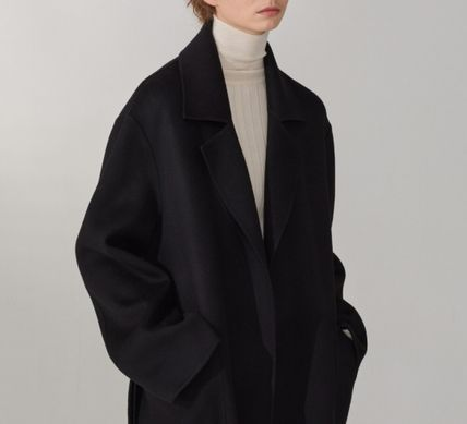 Casual Style Wool Cashmere Plain Long Oversized