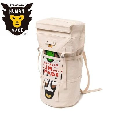 HUMAN MADE Heart Unisex Canvas Street Style Plain Logo Backpacks
