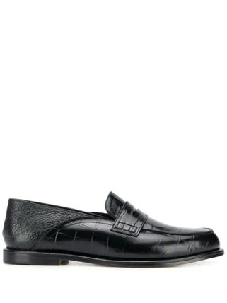LOEWE Straight Tip Loafers Plain Other Animal Patterns Leather