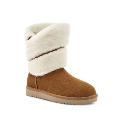 Plain Toe Casual Style Suede Street Style Plain Leather