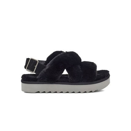 Shearling Open Toe Casual Style Plain Leather Street Style