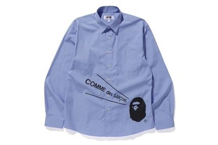 COMME des GARCONS Shirts Unisex Street Style Collaboration Long Sleeves Cotton Logo 3