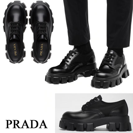 PRADA Loafers Unisex Blended Fabrics Street Style Leather