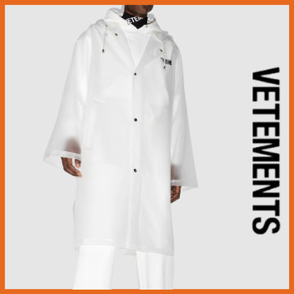 VETEMENTS Raincoat Logo Unisex Plain Long Street Style Coats