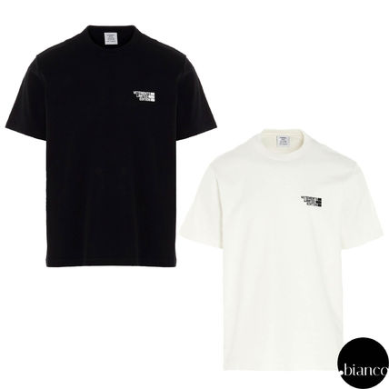 VETEMENTS Logo Crew Neck Unisex Cotton Short Sleeves Street Style
