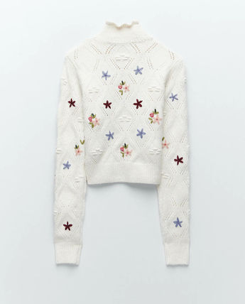ZARA Flower Patterns Casual Style Long Sleeves V-neck & Crew neck