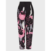 GIORGIO ARMANI Printed Pants Flower Patterns Casual Style Silk Long