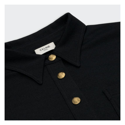 CELINE Casual Style A-line Wool Cashmere Bi-color Long Sleeves