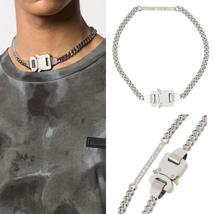 Street Style Silver Logo Necklaces & Chokers