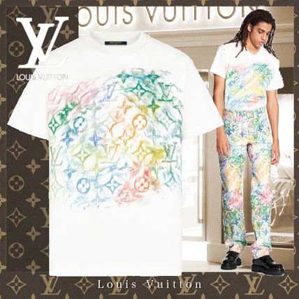 Louis Vuitton Logo Luxury Crew Neck Unisex Monogram Cotton Short Sleeves