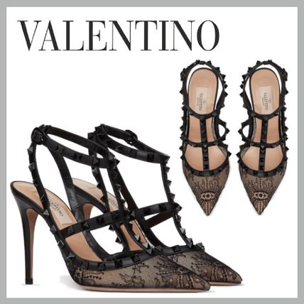 VALENTINO Casual Style Studded Pin Heels Party Style Elegant Style