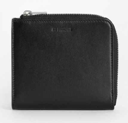 Jil Sander Logo Unisex Plain Leather Folding Wallets