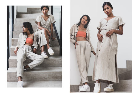 Casual Style Linen Street Style Plain Long Co-ord Pants