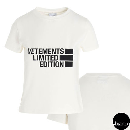 VETEMENTS Logo Crew Neck Cotton Short Sleeves Street Style T-Shirts