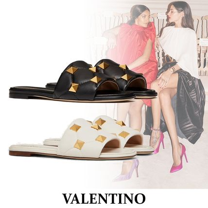 VALENTINO Open Toe Casual Style Studded Plain Leather Party Style